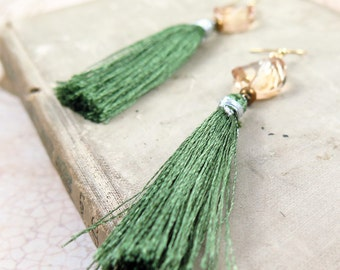 Green Tassel Earrings with Swarovski Golden Shadow Crystals
