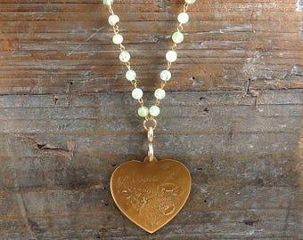 Vintage Heart Necklace, Large Heart Pendant, Love Necklace, Beaded Necklace, I Love You Heart, Kunzite Gemstone, Phrenite Beads