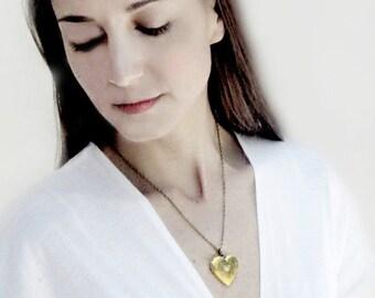 Brass Floral Heart Locket Necklace
