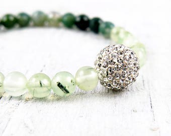 Moss Agate Bracelet with Pave Accent Bead
