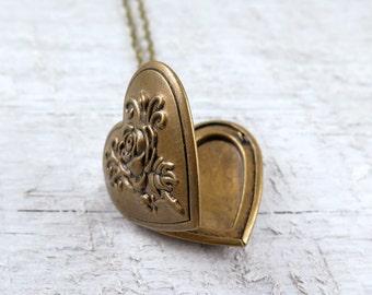 Antiqued Brass Floral Heart Locket Necklace