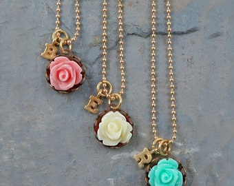 Personalized Flower and Initial Necklace
