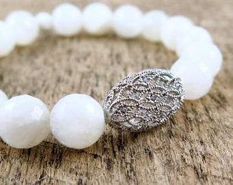 Moonstone White Beaded Bracelet with Filigree Accent