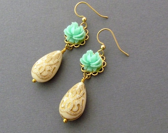 Mint Green Flower Earrings Ornate Teardrop Earrings Etched Earrings Wedding Jewelry Drop Earrings Metallic Gold  - Ariana