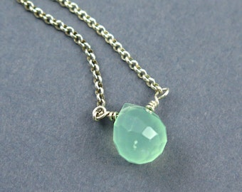 Mint Green Chalcedony Briolette Necklace