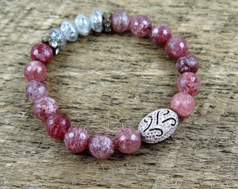 Strawberry Pink Beaded Quartz Bracelet with Vintage Silver Beads and Pave Accent
