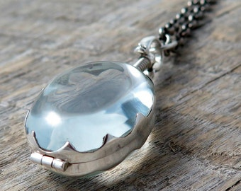 Sterling Silver Oval Glass Locket Necklace