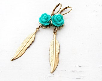 Turquoise Rose and Gold Feather Drop Earrings