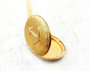 Gold Nautical Anchor Locket Pendant