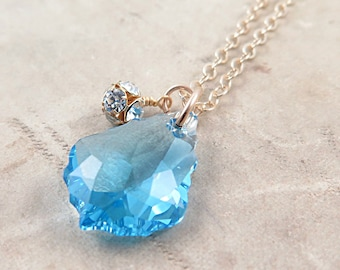 Blue Baroque Crystal Necklace with Rhinestone Ball on Gold Filled Chain