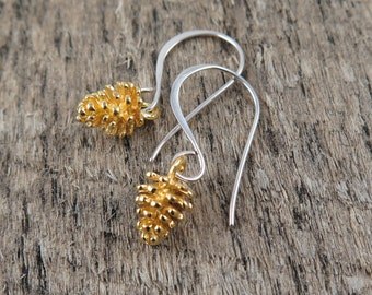 Woodland Jewelry, Gold Pinecone Earrings, Silver Pine Cone Earrings, Pinecone Jewelry,  Pine Cone Jewelry, Holiday Gift for Her