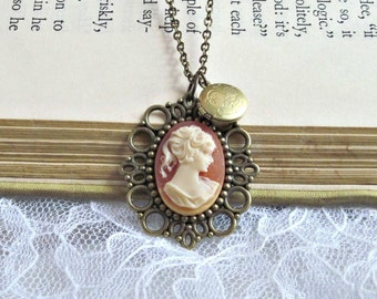 Victorian Coral Cameo and Vintage Locket Necklace
