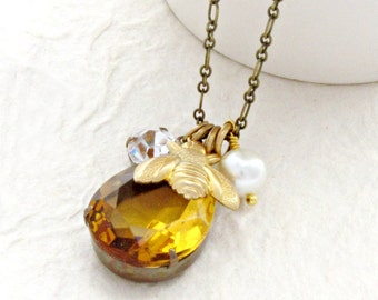 Golden Topaz Crystal Honey Bee Necklace with Pearl