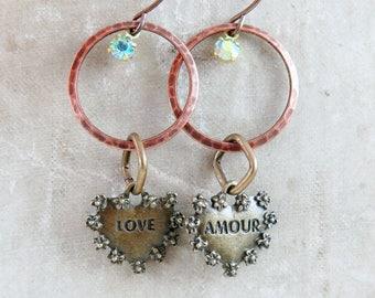 Heart Earrings, Hoop Earrings, Geometric Jewelry, Amour, Circle Earrings, Boho Jewelry