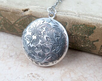 Antiqued Silver Locket Necklace