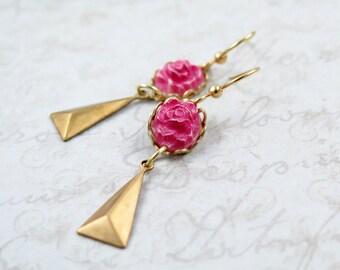 Triangle Earrings Geometric Drop Earrings Pink Flower Earrings Pyramid Jewelry Carved Rose Cameo - Carly