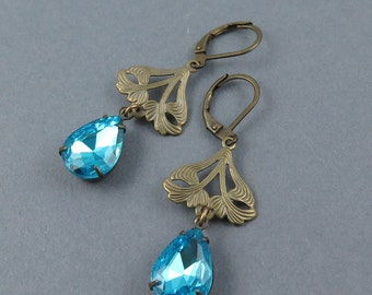 Blue Rhinestone Earrings Art Deco Earrings Ornate Earrings Gift for Her Vintage Style Aqua Crystal Earrings