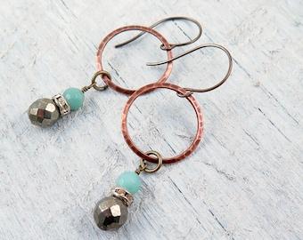 Amazonite and Pyrite Hoop Earrings