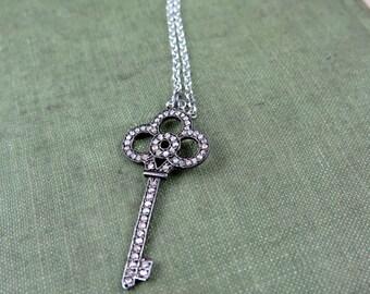 Pave Diamond Key Necklace, Pave Key Jewelry, Key Pendant, Diamond Necklace, Anniversary Necklace