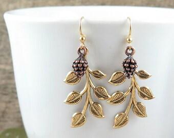 Gold Leaf Earrings Pine Cone Earrings Pinecone Earrings Tree Branch Forest Earrings Rustic Woodland Wedding Romantic