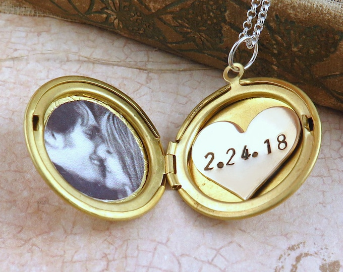 Featured listing image: Personalized Gold Locket Necklace with Photo and Custom Date