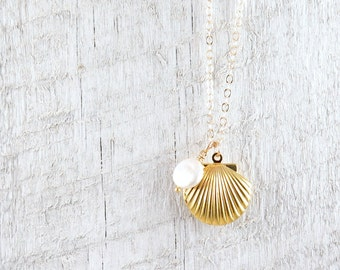 Gold Sea Shell Locket Necklace with Freshwater Pearl