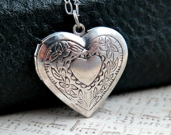 Silver Heart Locket Necklace with Personalized Initial