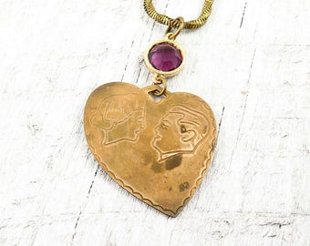 Vintage Heart Necklace, Silhouette Necklace, Love Necklace, Choker Necklace, Amethyst Jewelry, Heart Jewelry, Valentine Gift