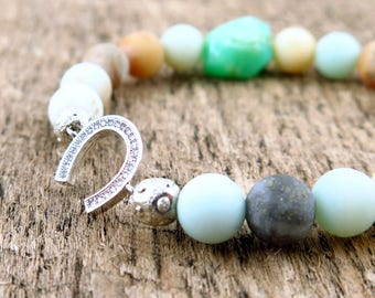 Rhinestone Horseshoe and Amazonite Beaded Bracelet