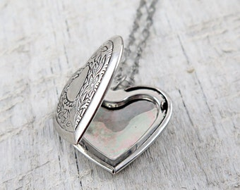 Wedding Locket Silver Heart Locket Silver Locket Necklace Photo Locket Picture Locket Anniversary Gift Locket Gift Bridesmaid Gift