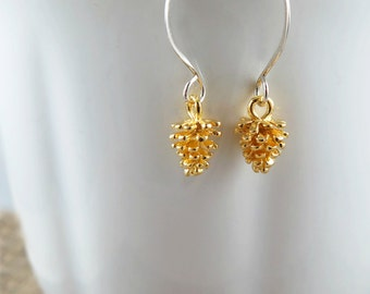 Gold Pinecone Earrings on Sterling Silver Ear Wires