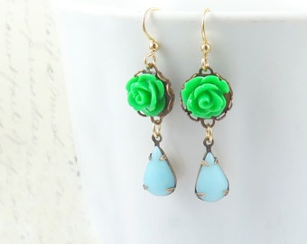 Green Rose and Vintage Blue Glass Dangle Earrings