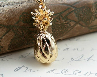 Gold Pineapple Necklace Pendant Fruit Jewelry
