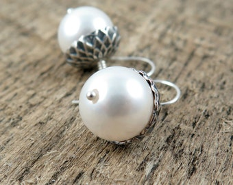 Silver Acorn Earrings and White Pearl Earrings