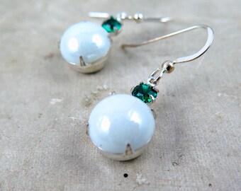 White Earrings, Green Earrings, Rhinestone Earrings, Holiday Jewelry, Dangle Earrings, Stocking Stuffer