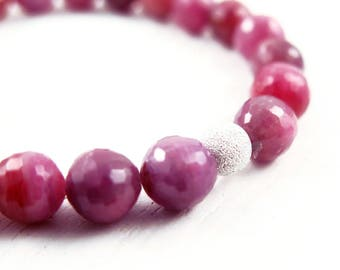 Ruby Gemstone Beaded Bracelet