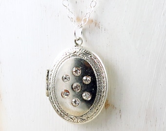 Vintage Silver Locket,  Rhinestone Locket, Photo Locket, Oval Locket, Vintage Locket, Anniversary Gift for Her