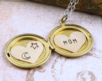 Celestial Necklace, Locket Necklace, Personalized Locket, Name Necklace, Moon and Stars Jewelry