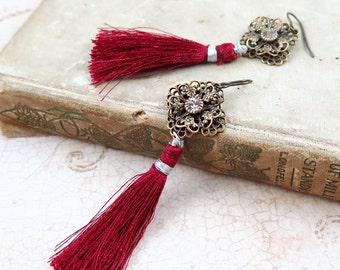 Silk Red Tassel and Rhinestone Earrings