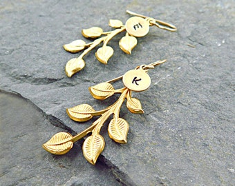 Personalized Gold Leaf Earrings