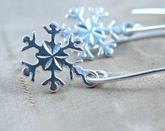 Christmas Sterling Silver Snowflake Dangle Earrings
