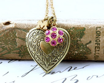 Personalized Heart Locket Necklace with Initial and Pink Flower