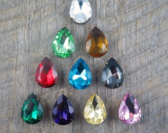 Jewel Toned Rhinestone Necklace Vintage Style Teardrop Jewelry Red Rhinestone Green Bridesmaid Sets