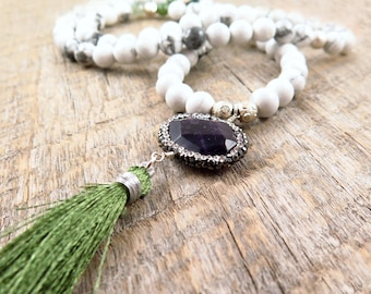 Long Beaded White Howlite Necklace with Green Tassel
