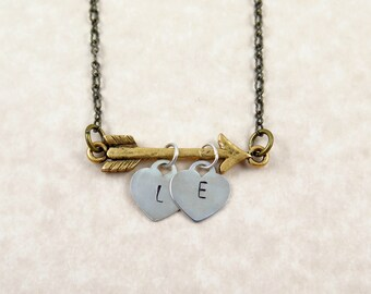 Initial Arrow Necklace Personalized Gift for Valentine's Day