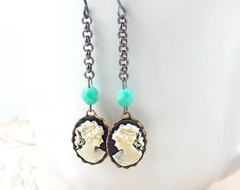 Cameo Dangle Earrings with Turquoise Beads and Gunmetal Chain