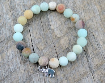 Elephant and Amazonite Beaded Bracelet