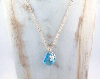 Snowflake Necklace, Bridesmaid Necklace, Winter Wedding, Snowflake Jewelry, Baroque Pendant, Crystal Necklace