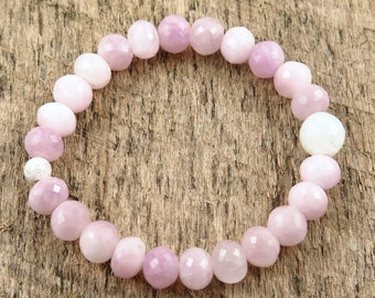 Faceted Pink Kunzite Beaded Bracelet
