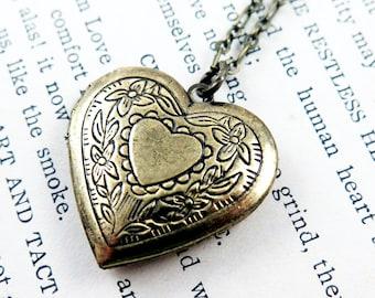 Heart Locket Necklace, Anniversary Gift for Her, Heart Pendant, Photo Locket, Victorian Heart, Wedding Gift